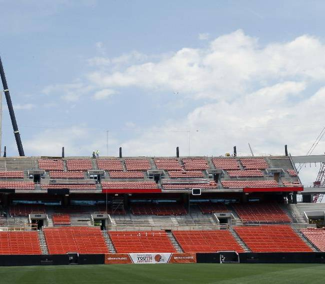 During Phase One renovation, the west end zone, shown, will be installed with a new video board, nearly triple the size of the old one, at FirstEnergy Stadium, Monday, June 16, 2014, in Cleveland. Phase One will add two new video boards, LED video boards and ribbon boards and a completely new audio system