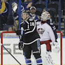 Tampa Bay Lightning left wing Ondrej Palat (18), of the Czech Republic, celebrates after scoring past Columbus Blue Jackets goalie Sergei Bobrovsky (72), of Russia, during the third period of an NHL hockey game Saturday, Dec. 6, 2014, in Tampa, Fla The As