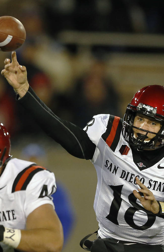 San Diego State quarterback Quinn Kaehler throws during the first quarter of an NCAA college football game against Air Force Academy, at the Air Force Academy, Colo. Thursday, Oct. 10, 2013