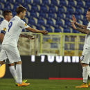 Dynamo Moscow's Aleksandr Kokorin, second right, celebrates with teammates after scoring the opening goal against Estoril during the Europa League group E soccer match between Dynamo Moscow and Estoril at the Antonio Coimbra Da Mota stadium, in Estoril, P