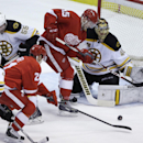 Boston Bruins goalie Tuukka Rask (40) prepares to stop the shot by Detroit Red Wings left wing Tomas Tatar (21) during the second period of Game 4 of a first-round NHL hockey playoff series in Detroit, Thursday, April 24, 2014 The Associated Press