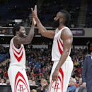 SACRAMENTO, CA - DECEMBER 11: Patrick Beverley #2 and James Harden #13 of the Houston Rockets celebrate during the game against the Sacramento Kings on December 11, 2014 at Sleep Train Arena in Sacramento, California. (Photo by Rocky Widner/NBAE via Getty Images)