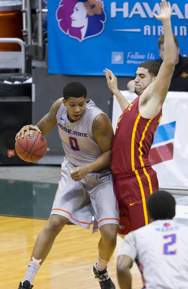 Boise State forward Ryan Watkins (0) post up against Iowa State forward Georges Niang (31) as Boise State guard Derrick Marks (2) looks on in the first half of an NCAA college basketball game at the Diamond Head Classic on Wednesday, Dec. 25, 2013, in Honolulu
