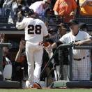 San Francisco Giants' Buster Posey (28) is congratulated by manager Bruce Bochy, right, after scoring against the Colorado Rockies during the seventh inning of a baseball game in San Francisco, Saturday, May 25, 2013. (AP Photo/Jeff Chiu)