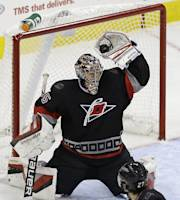 Carolina Hurricanes' Justin Peters stops a shot on-goal during the third period of an NHL hockey game against the New York Islanders in Raleigh, N.C., Thursday, Nov. 7, 2013. Carolina won 1-0. (AP Photo/Gerry Broome)