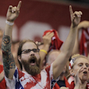United States fans cheers on their team against Mexico during the first half of a World Cup qualifying soccer match Tuesday, Sept. 10, 2013, in Columbus, Ohio. (AP Photo/Jay LaPrete)