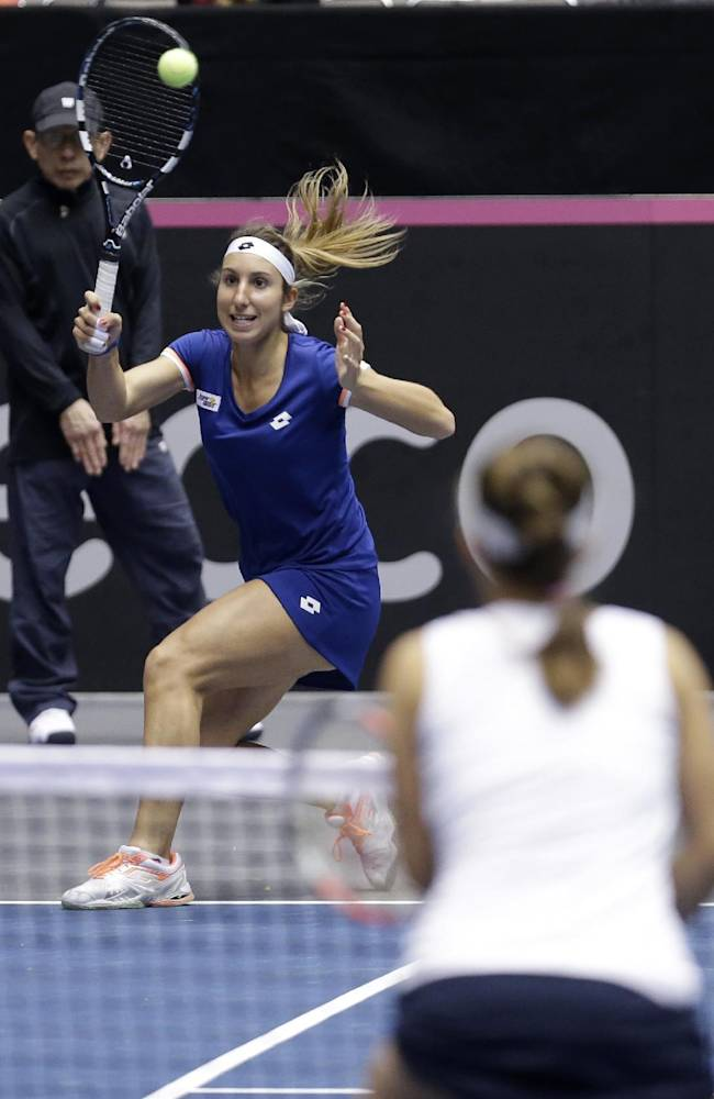 Italy's Alice Matteucci returns the ball during a Fed Cup world group doubles tennis match against the United States, Sunday, Feb. 9, 2014, in Cleveland. United States' Lauren Davis and Madison Keys defeated Italy's Nastassja Burnett and Alice Matteucci 6-2, 6-3