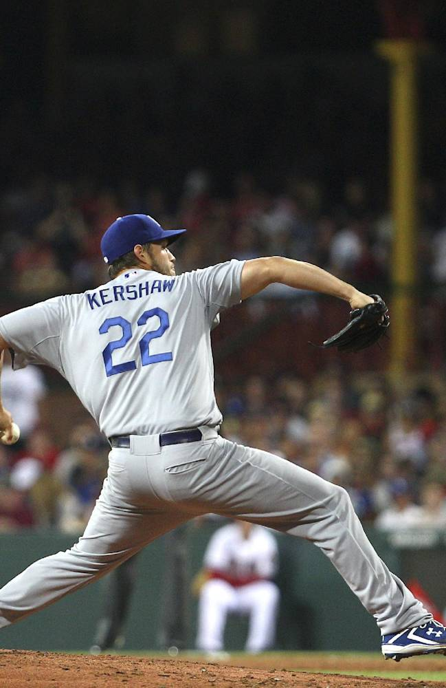 Dodgers' Clayton Kershaw pitches during the the Major League Baseball opening game between the Los Angeles Dodgers and Arizona Diamondbacks at the Sydney Cricket Ground in Sydney, Australia Saturday, March 22, 2014. The Dodgers won the game 3-1