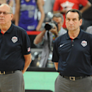 BARCELONA, SPAIN - SEPTEMBER 6: Coaches Jim Boeheim and Mike Krzyzewski of the USA Basketball Men's National Team stands for the National Anthem against the Mexico National Team at Palau Sant Jordi on September 6, 2014 in Barcelona, Spain. (Photo by Garrett Ellwood/NBAE via Getty Images)