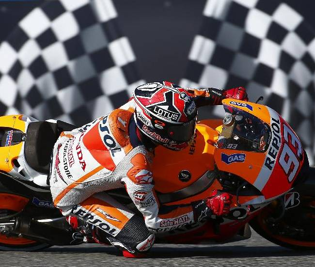 Marc Marquez of Spain and Repsol Honda takes a curve during the first free practice session of the Spain MotoGP at the Jerez race track on Friday May 2, 2014 in Jerez de la Frontera, southern Spain