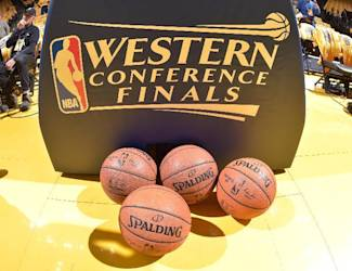 OAKLAND, CA - MAY 19: The Western Conference finals logo with the Official NBA Spalding Basketballs before a game between the Houston Rockets and Golden State Warriors in Game One of the Western Conference Finals of the 2015 NBA Playoffs on May 19, 2015 at Oracle Arena in Oakland, California. (Photo by Andrew D. Bernstein/NBAE via Getty Images)