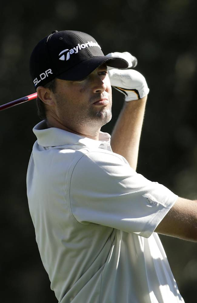 Ryan Palmer watches his tee shot on the 18th hole during the second round of the Humana Challenge golf tournament at La Quinta Country Club on Friday, Jan. 17, 2014, in La Quinta, Calif