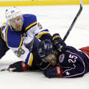 St. Louis Blues' Nate Prosser, left, collides with Columbus Blue Jackets' Jerry D'Amigo in the second period of an NHL preseason hockey game in Columbus, Ohio, Sunday, Sept. 21, 2014. (AP Photo/Paul Vernon)