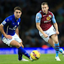 Leicester City's Matty James, left, and Aston Villa's Tom Cleverley battle for the ball during their English Premier League soccer match at Villa Park, Birmingham, England, Sunday Dec. 7, 2014