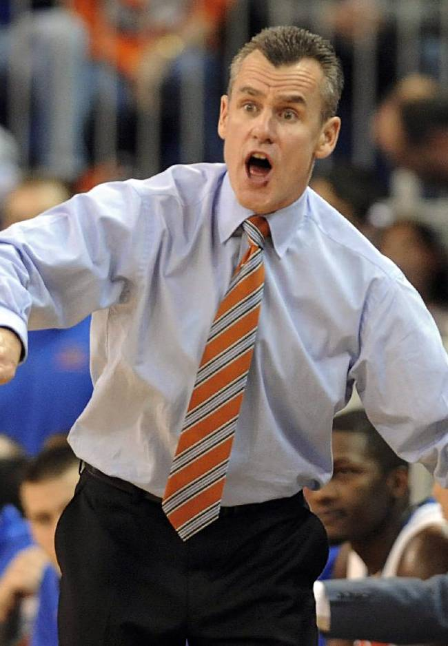 Florida coach Billy Donovan shouts toward the court during the second half of an NCAA college basketball game against Alabama Saturday, Feb. 8, 2014 in Gainesville, Fla. Florida won 78-69