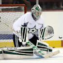 Dallas Stars' Kari Lehtonen of Finland prepares to glove a shot during a team practice on opening day of NHL hockey training camp, Friday, Sept. 19, 2014, in Fort Worth, Texas The Associated Press