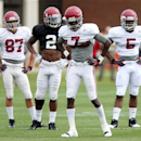 Alabama wide receivers Parker Barrineau (87), DeAndrew White (2), Kenny Bell (7) and Chris Black (5) stand together during spring NCAA college football practice, Wednesday, April 10, 2013, in Tuscaloosa, Ala. (AP Photo/The Tuscaloosa News, Michelle Lepianka Carter)