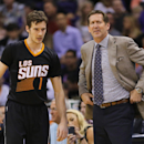 Phoenix Suns' Goran Dragic (1), of Slovenia, and coach Jeff Hornacek look toward the Oklahoma City Thunder bench during the second half of an NBA basketball game, Thursday, March 6, 2014, in Phoenix The Associated Press