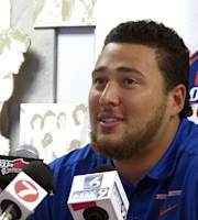 Boise State senior defensive tackle Ricky Tjong-A-Tjoe speaks to reporters during an NCAA college football news conference in Boise, Idaho, on Monday, Aug. 26, 2013. The Broncos play the University of Washington on Saturday in Seattle, a game in which both teams are expected to have hurry-up, no-huddle offenses. (AP Photo/John Miller)