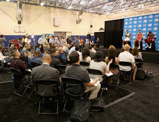 PLAYA VISTA, CA - SEPTEMBER 29:  Matt Barnes #22, J.J. Redick #4 and Jamal Crawford #11 take questions from the media during Los Angeles Clippers Media Day at Los Angeles Clippers Training Center on September 29, 2014 in Playa Vista, California.  (Photo by Jeff Gross/Getty Images)