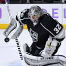 Los Angeles Kings goalie Jonathan Quick deflects a shot during the third period of an NHL hockey game against the Buffalo Sabres, Thursday, Oct. 23, 2014, in Los Angeles. The Kings won 2-0 The Associated Press