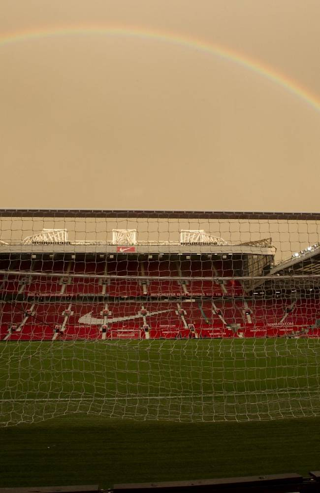 A rainbow is seen over Old Trafford Stadium after Manchester United''s 1-1 draw against Southampton in their English Premier League soccer match at Old Trafford Stadium, Manchester, England, Saturday Oct. 19, 2013