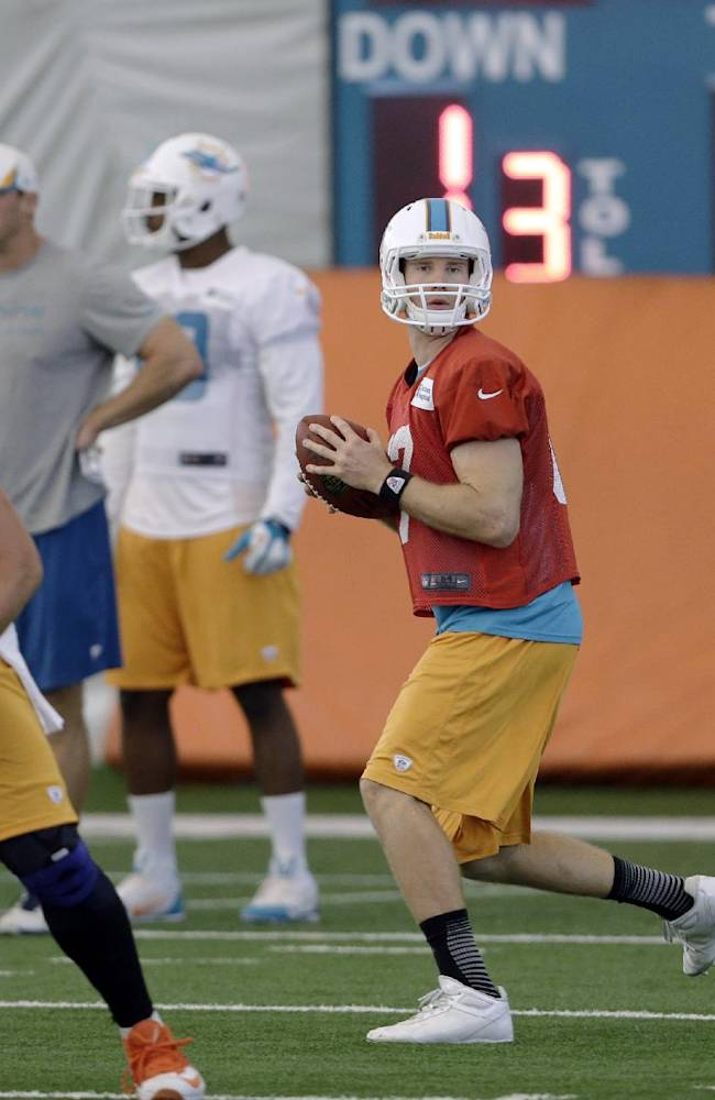 Miami Dolphins quarterback Ryan Tannehill, center, prepares to pass during NFL football practice, Wednesday, Nov. 6, 2013, in Davie, Fla. At left is guard Nate Garner (75) and at right is tackle Bryant McKinnie (78). A senior partner in a New York law firm with experience in sports cases has been appointed by NFL Commissioner Roger Goodell to investigate possible misconduct in the Dolphins' workplace and prepare a report. The Dolphins have pledged full support in the investigation, the NFL said. A troubled relationship between linemen Jonathan Martin and Richie Incognito left both players sidelined