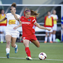 In this June 7, 2014, file photo, Portland Thorns' Alex Morgan (13) prepares to fire a shot against the Western New York Flash in an NWSL soccer game in Portland, Ore. In the space of about a week, a group of players from the U.S. team, including Morgan,