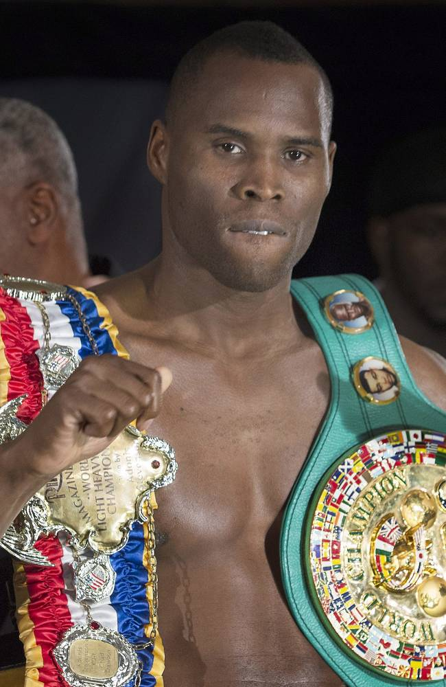 WBC light heavyweight champion Adonis Stevenson poses for the cameras during his weigh-in in Montreal, Friday, May 23, 2014, ahead of his title defense against challenger Andrzej Fonfara in Montreal on Saturday