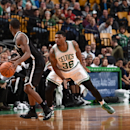 BOSTON, MA - OCTOBER 22: Marcus Smart #36 of the Boston Celtics defends the basket against the Brooklyn Nets during the game on October 22, 2014 at the TD Garden in Boston, Massachusetts. (Photo by Brian Babineau/NBAE via Getty Images)