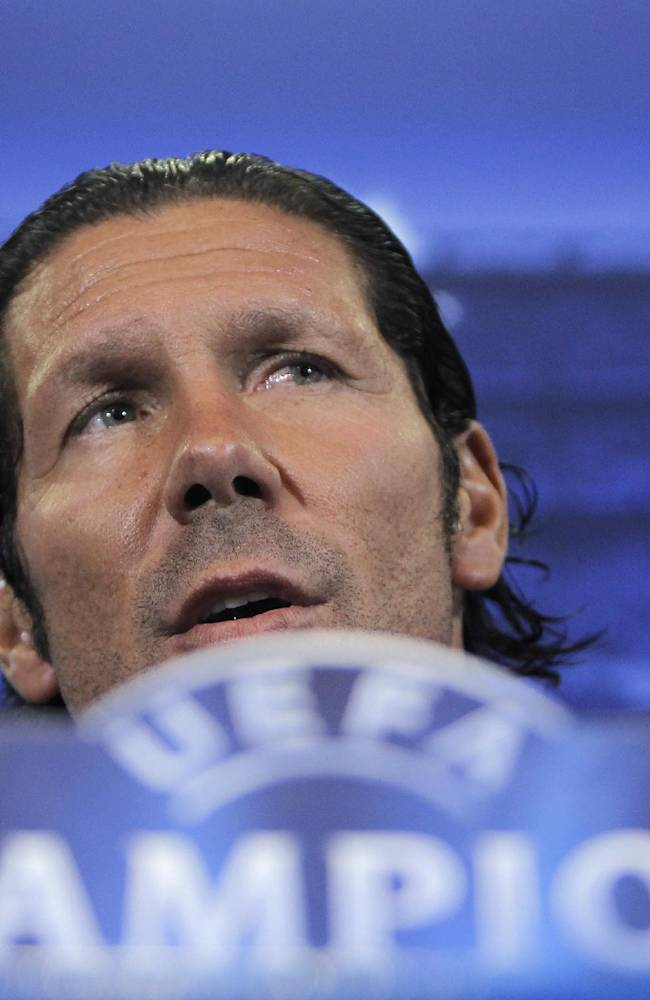 Atletico de Madrid's coach Diego Simeone speaks during the last press conference prior the Champions League Group G soccer match between Atletico de Madrid and Zenit in Madrid, Spain, Tuesday, Sept. 17, 2013