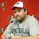 In this Aug. 28, 2014, file photo, new Tampa Bay Buccaneers guard Logan Mankins meets with members of the media before an NFL preseason football game against the Washington Redskins in Tampa, Fla. Mankins says he isn't upset by a trade that sent him from