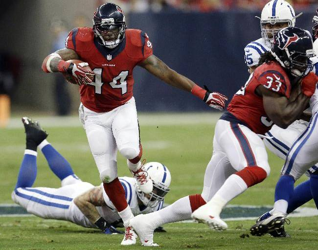 Houston Texans' Ben Tate (44) runs against the Indianapolis Colts during the first quarter of an NFL football game Sunday, Nov. 3, 2013, in Houston