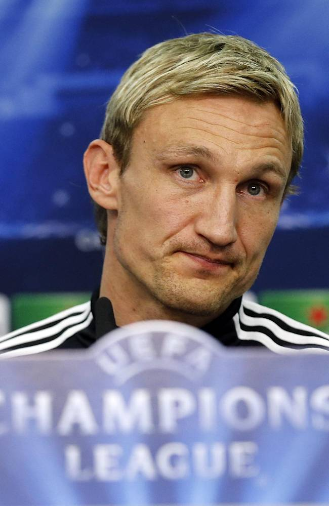 In this Feb. 17, 2014 file picture, Leverkusen head coach Sami Hyypia speaks during a press conference  ahead of the Champions League round of the last 16 first leg soccer match between Bayer Leverkusen and Paris Saint-Germain in Leverkusen, Germany. Bayer Leverkusen fired Sami Hyypia as coach on Saturday April 5, 2014  after an alarming run that has put Champions League qualification in doubt. Youth coach Sascha Lewandowski has been put in charge to the end of the season. The Bundesliga club said in a statement that former Liverpool defender Hyypia was being released