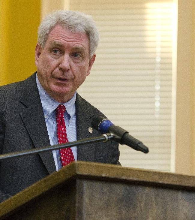 University of Mississippi Chancellor Dan Jones speaks during a reception for LGBTQ month,  in Oxford, Miss., Thursday, Oct. 3, 2013. Michael Barnett, a professor and assistant theatre chair, says that a group of Ole Miss students, including football players, disrupted a production of a campus play with