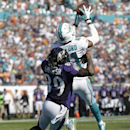 Miami Dolphins defensive back R.J. Stanford (41) intercepts a pass intended for Baltimore Ravens wide receiver Steve Smith (89) during the first half of an NFL football game, Sunday, Dec. 7, 2014, in Miami Gardens, Fla The Associated Press