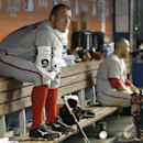 Washington Nationals starting pitcher Jordan Zimmermann sits in the dugout after pitching during the fourth inning of a baseball gameagainst the Miami Marlins, Monday, April 14, 2014, in Miami. The Nationals defeated the Marlins 9-2 The Associated Press