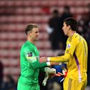 Manchester City's goalkeeper Joe Hart, left, talks with Sunderland's goalkeeper Costel Pantilimon, at the end of their English Premier League soccer match at the Stadium of Light, Sunderland, England, Wednesday, Dec. 3, 2014