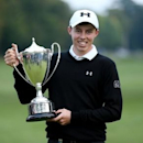 England's Matthew Fitzpatrick celebrates with the trophy after winning The British Masters. Mandatory Credit: Action Images / Alex Morton