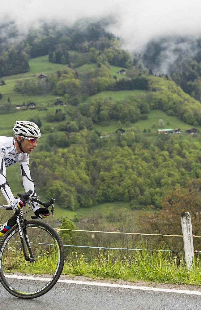 Portugal's Rui Alberto Costa of team Lampre-Merida, rides during the third stage, a 180,5 km race from Le Bouveret to Aigle, at the 68th Tour de Romandie UCI ProTour cycling race near les Giettes, Switzerland, Friday, May 2, 2014