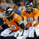 In this Aug. 18, 2012, file photo, Denver Broncos quarterback Peyton Manning (18) takes the snap as guard Zane Beadles (68) protects during the first half of a preseason NFL football game against the Seattle Seahawks in Denver. Just days after cutting sta