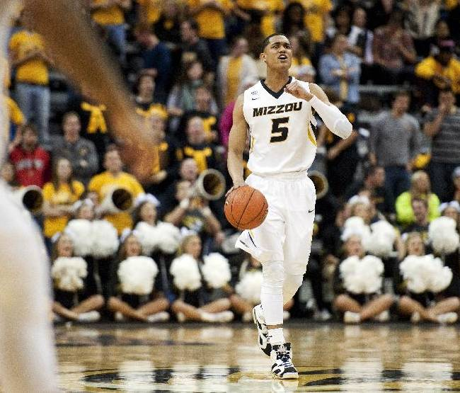 Missouri's Jordan Clarkson brings the ball up court during the first half of an NCAA college basketball game against Western Michigan, Sunday, Dec. 15, 2013, in Columbia, Mo. Missouri won 66-60