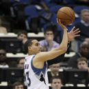 Minnesota Timberwolves guard Kevin Martin (23) shoots against the Atlanta Hawks during the first half of an NBA basketball game, Wednesday, March 26, 2014, in Minneapolis. Martin had 18 points on the night as Minnesota won 107-83 The Associated Press