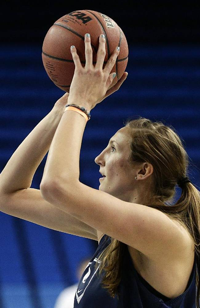 Brigham Young University's Jennifer Hamson shoots during practice for the NCAA women's college basketball tournament on Friday, March 21, 2014, in Los Angeles. BYU is scheduled to play North Carolina State in a first-round game on Saturday