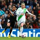 LONDON, ENGLAND - MAY 23:   Conny Pohlers of VfL Wolfsburg (R) shields the ball from Louisa Necib of Olympique Lyonnais during the UEFA Women's Champions League final match between VfL Wolfsburg and Olympique Lyonnais at Stamford Bridge on May 23, 2013 in London, England.  (Photo by Jan Kruger/Getty Images)