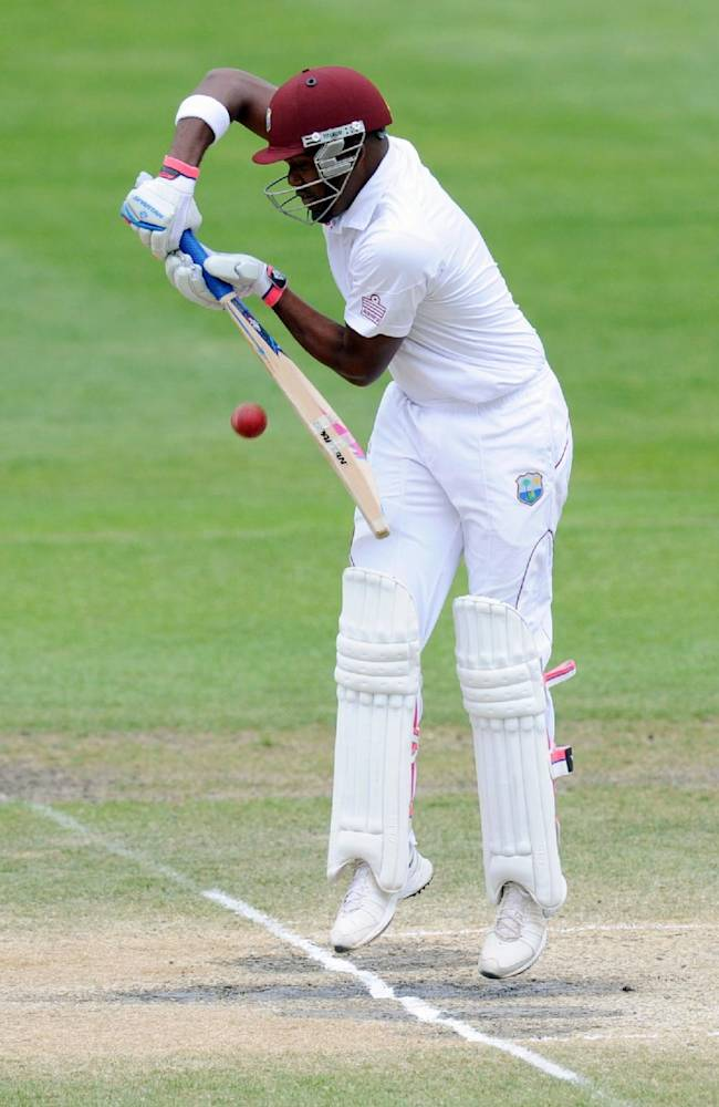 West Indies' Darren Bravo bats against New Zealandon the fifth day of the International cricket match, at the  University Oval, in  Dunedin, New Zealand, Saturday, Dec.  7, 2013