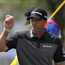 Feb 24, 2017; Palm Beach Gardens, FL, USA; Ryan Palmer acknowledges the crowd after his round on the ninth hole during the second round of The Honda Classic at PGA National (Champion).  Jason Getz-USA TODAY Sports