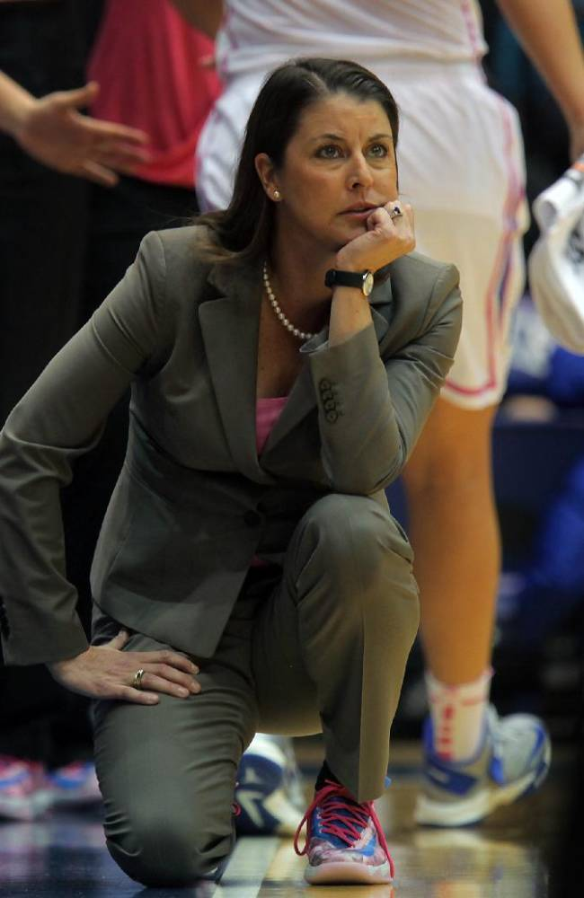 Duke's head coach Joanne P. McCallie watches game action during the first half of an NCAA college basketball game against Maryland in Durham, N.C., Monday, Feb. 17, 2014.  Duke won 84-63