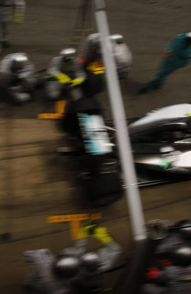 Mercedes driver Nico Rosberg of Germany leaves the pit during the Spain Formula One Grand Prix at the Barcelona Catalunya racetrack in Montmelo, near Barcelona, Spain, Sunday, May 11, 2014