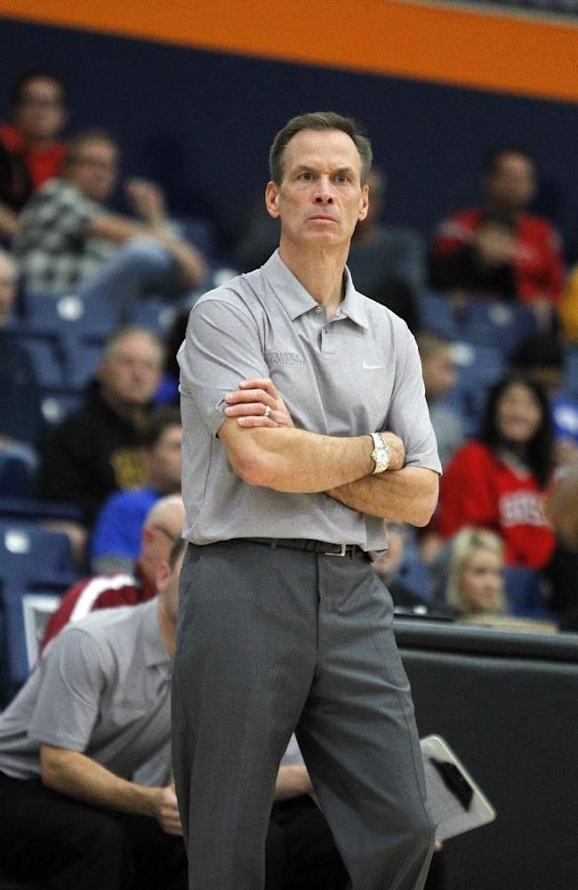 College of Charleston head coach Doug Wojcik on the sidelines in the first half of an NCAA college basketball game at the Wooden Legacy tournament Friday, Nov. 29, 2013, in Fullerton, Calif